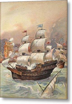 The Fleet Of Jean Ango Blocks The Tagus Metal Print