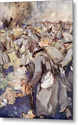 The French Force Rushed Forward To Take Metal Print by Cyrus Cuneo