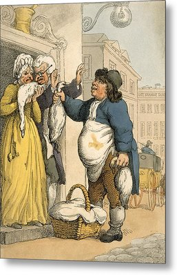 The Goose Seller, Plate No.2 Metal Print by Thomas Rowlandson