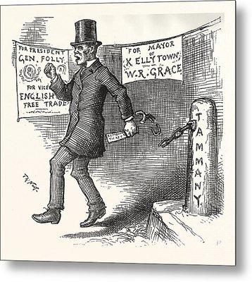 The Greek Slave Emancipates Oill Vote Aginst Tariff Metal Print by American School