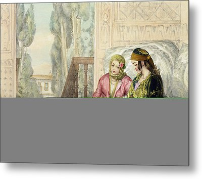 The Harem, Plate 1 From Illustrations Metal Print by John Frederick Lewis