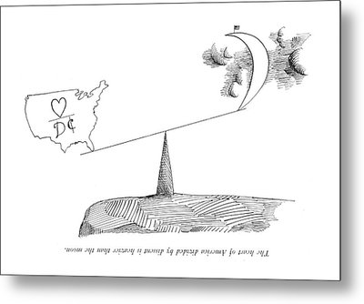 The Heart Of America Divided By Dissent Metal Print by Saul Steinberg