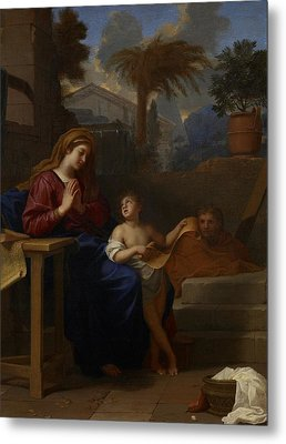 The Holy Family In Egypt Metal Print by Charles Le Brun