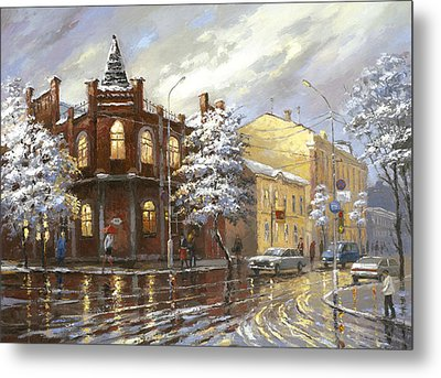 Metal Print featuring the painting The House 44 Or Silver Night by Dmitry Spiros