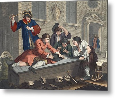The Idle Prentice At Play In The Church Metal Print by William Hogarth