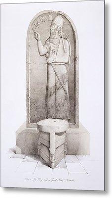The King And Sacrificial Altar, Nimrud Metal Print by English School