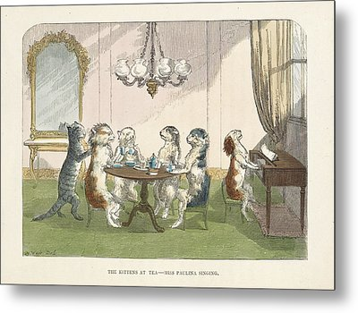 The Kittens At Tea Metal Print by British Library