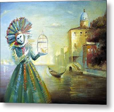 Metal Print featuring the painting The Lady With The Cage by Dmitry Spiros