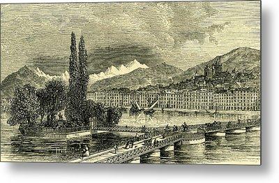 The Lake And City Of Geneva Switzerland Metal Print by Swiss School