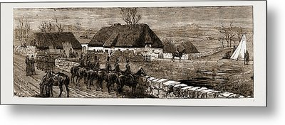 The Land Agitation In Ireland Erecting A Police Hut At New Metal Print by Litz Collection