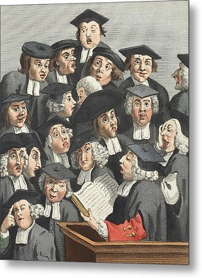 The Lecture, Illustration From Hogarth Metal Print by William Hogarth