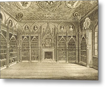 The Library, Engraved By Godfrey Metal Print by English School