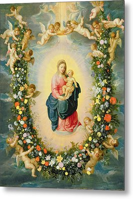 The Madonna And Child In A Floral Garland Metal Print by Brueghel and Balen