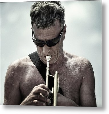 The Man His Trumpet And The Sea Metal Print by Michel Verhoef