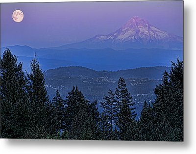 The Moon Beside Mt. Hood Metal Print by Don Schwartz