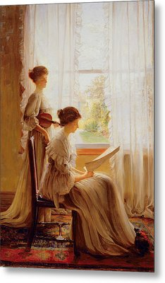 The Music Lesson, C.1890 Metal Print by American School