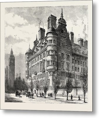 The New Police Offices On The Victoria Embankment Metal Print by English School