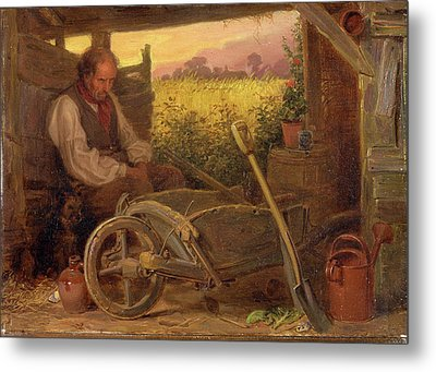 The Old Gardener Signed And Dated, Lower Right Br 1863 Metal Print by Litz Collection