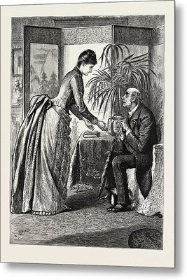 The Old Man And The Lady Metal Print by Du Maurier, George L. (1834-97), English