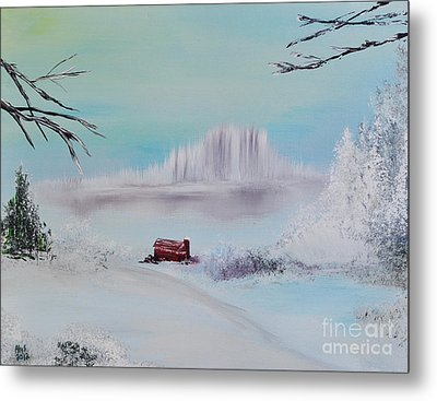 The Old Red Barn In Winter Metal Print by Alys Caviness-Gober