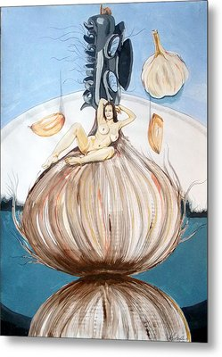 Metal Print featuring the painting The Onion Maiden And Her Hair La Doncella Cebolla Y Su Cabello by Lazaro Hurtado