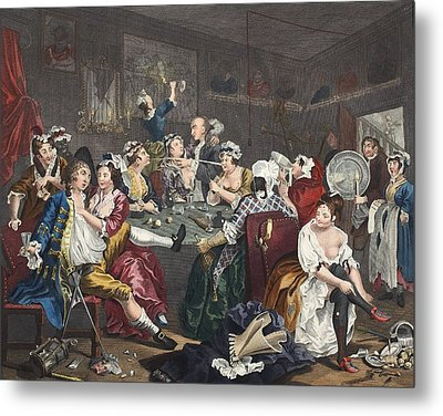 The Orgy, Plate IIi From A Rakes Metal Print by William Hogarth