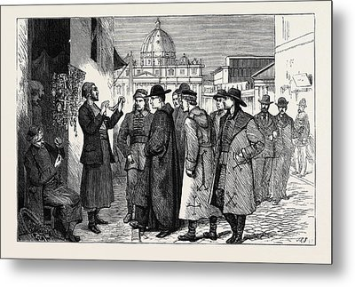 The Papal Jubilee At Rome, Pilgrims Buying Rosaries Metal Print by English School