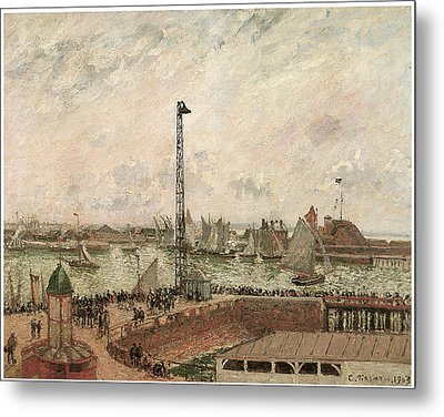The Pilot's Jetty Le Harve Mornig Grey Weather Misty Metal Print by Camille Pissarro