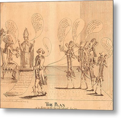 The Plan, Or A Scene In The French Cabinet Metal Print by Litz Collection