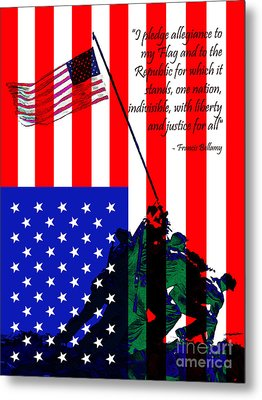 The Pledge Of Allegiance - Iwo Jima 20130210 Metal Print by Wingsdomain Art and Photography