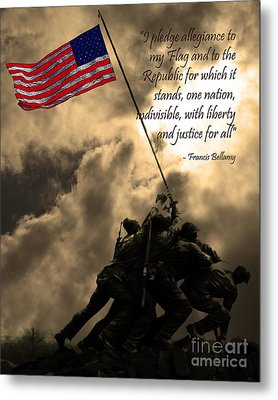 The Pledge Of Allegiance - Iwo Jima 20130211v2 Metal Print by Wingsdomain Art and Photography