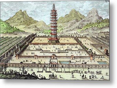 The Porcelain Tower Of Nanking, Plate Metal Print by Johann Bernhard Fischer von Erlach