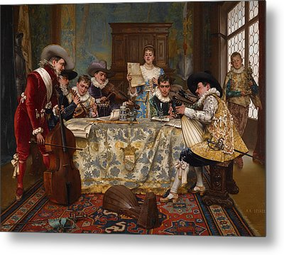 The Practice Recital Metal Print by Adolphe Alexandre Lesrel