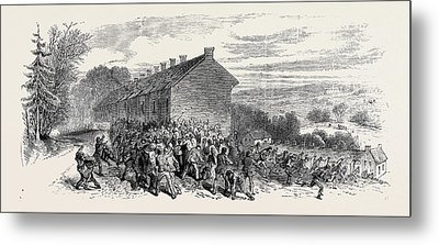 The Riots Near Sheffield Police Charging The Mob Metal Print by English School