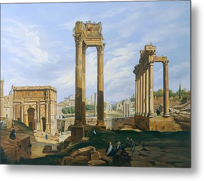 The Roman Forum Metal Print by Jodocus-Sebastiaen van den Abeele