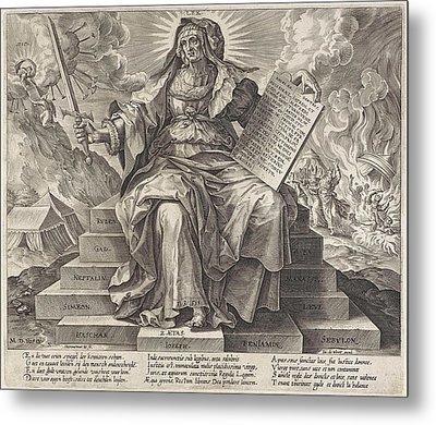 The Silver Age The Law Of The Old Testament Metal Print by Hieronymus Wierix And Jacob De Weert