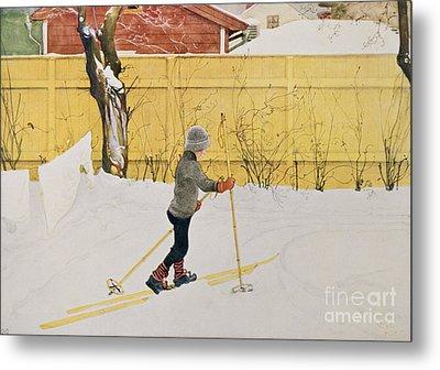 The Skier Metal Print by Carl Larsson