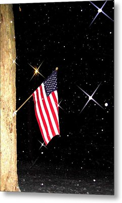 The Snow The Moon And The Flag Metal Print by Sharon Costa