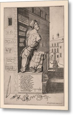 The Statue Pasquino, Standing On A Pedestal In The Piazza Metal Print