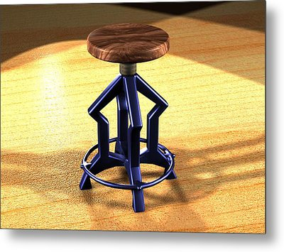 Metal Print featuring the digital art The Stool Twin by Giuseppe Epifani