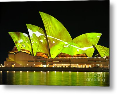 The Sydney Opera House In Vivid Green Metal Print by David Hill