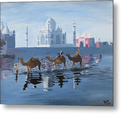 The Taj Mahal And The Yamuna River Metal Print