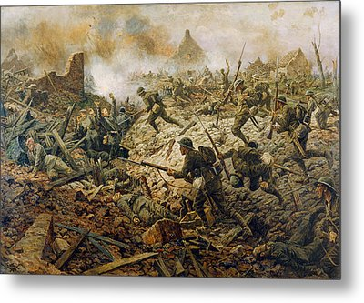 The Territorials At Pozieres On 23rd Metal Print by William Barnes Wollen