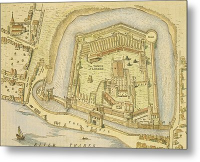 The Tower Of London, From A Survey Made Metal Print by English School