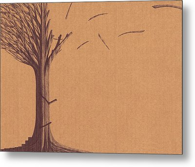 Metal Print featuring the drawing The Tree Of Life - Immigration by Giuseppe Epifani