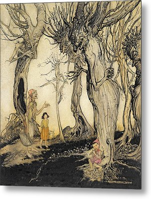The Trees And The Axe, From Aesops Metal Print by Arthur Rackham
