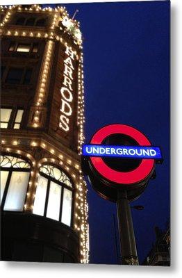 The Underground And Harrods In London Metal Print by Jennifer Lamanca Kaufman