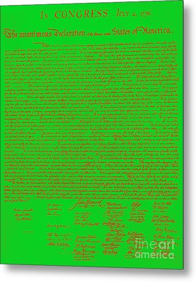 The United States Declaration Of Independence 20130215 Metal Print by Wingsdomain Art and Photography
