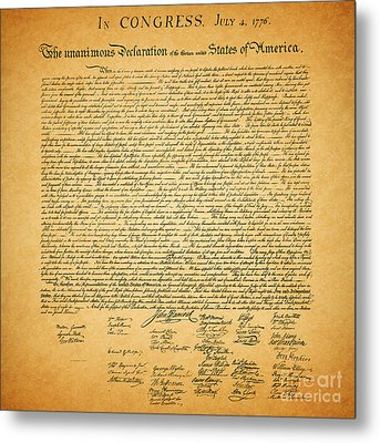 The United States Declaration Of Independence - Square Metal Print by Wingsdomain Art and Photography