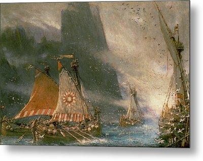 The Viking Sea Raiders Metal Print by Albert Goodwin